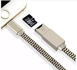HOCHE 2-in-1 Memory Card Reader, Lightning Cable Micro SD/TF