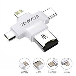 DezoByte 4 in 1 Micro SD Card Reader with Lightning/USB/Micr