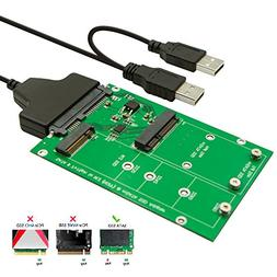 QNINE M.2 or MSATA to USB or SATA 3.0 Adapter, 2-in-1 Conver