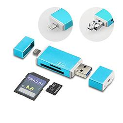 GiBot 3-in-1 Micro SD/SD Memory Card Reader with Lightning U