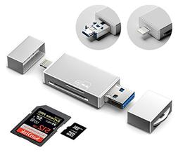 GiBot 3-in-1 Micro SD/ SD Memory Card Reader with Lightning