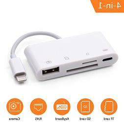 4 in 1 SD Card Reader,High Speed Lightning SD/TF Card Reader