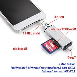3 in 1 USB 3.0 Hub Type-C To Micro USB 3.0 TF/SD Card Reader