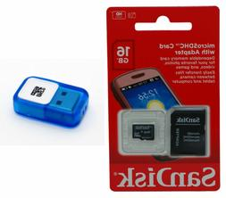 SanDisk 16GB Micro SD Card SDHC MicroSD Flash Memory Adapter