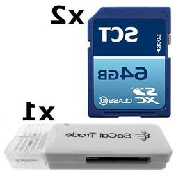 2 PACK - SCT 64GB SD XC Class 10 UHS-1 Secure Digital Ultima
