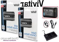 2-Pc NP-FW50 Li-Ion Battery & Dual USB Charger For Sony A600