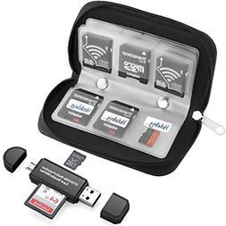22 Slots Memory Card Case with SD Card Reader, OTG Reader fo