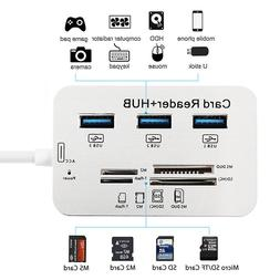 3 Port USB 3.0 Hub MS SD M2 TF External Memory Card Reader A
