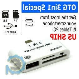 3In1 Micro USB SD Memory Card Reader OTG HUB Adapter For And