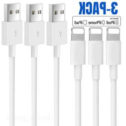 3Pack 6Ft iPhone 11 X 8 7 6s Plus 5c Charger Heavy Duty USB