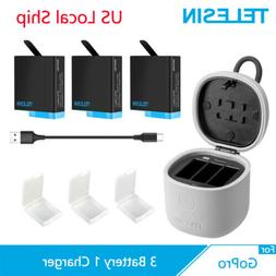 TELESIN 3Pack Battery 3 Ways Charger + TF Card Reader Box Fo