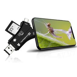 4-in-1 Memory TF/SD Card Reader Adapter for iPhone/iPad/Andr