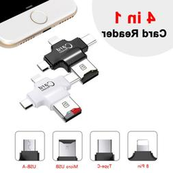4 in 1 Micro SD Card Reader Type-C/Lightning/Micro USB for A