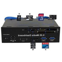 5.25 Inch Media Dashboard All-in-One Card Reader Two USB 3.0