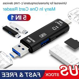 5 in 1 USB 3.0 Type C / USB / Micro USB SD TF Memory Card Re
