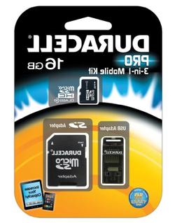 Duracell 16GB Micro SD Card U1 3-in-1 Memory Kit with SD Car