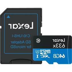 Lexar High-Performance MicroSDXC 633x 64GB UHS-I U1 w/USB 3.