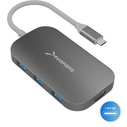 Sabrent 8-in-1 USB Type-C Hub with HDMI Output, 3 USB 3.0 Po