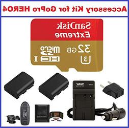 Accessory Kit for GoPro HERO4 Camcorder, Includes: SanDisk 3