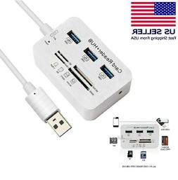 Aluminum 3 Port USB 3.0 Hub MS SD M2 TF Multi-In-1 Memory Ca