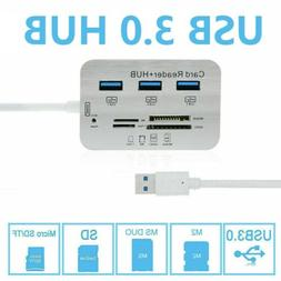 Aluminum 3 Port USB 3.0 Hub With MS SD M2 TF Multi-In-1 Card