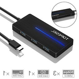 Type C Hub, TOPESEL 5-in-1 Multiport USB-C Hub with 3 USB 3.