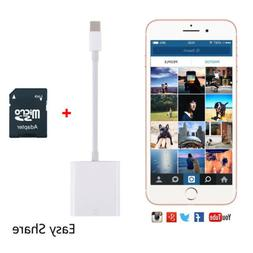 Camera SD Card Reader USB 2.0 Lightning Adapter for iPhone X