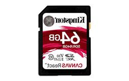 Kingston Canvas React 64GB SDXC Class 10 SD Memory Card UHS-
