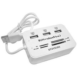 ERCRYSTO Card Reader and 3 Ports USB Hub High Speed External