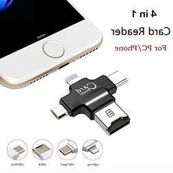 Card Reader, 4 in 1 Micro SD Card Reader with Type C USB Con
