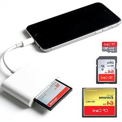 CF Card Reader, Lighting SD/TF/CF Card Adapter 3 in 1 Trail