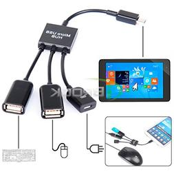 FYL Dual Micro USB Host OTG Hub Cable Adapter for Dell Venue