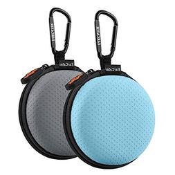 Earbuds Cases,EarCater 2Pack Round Pocket Earbud Travel Carr