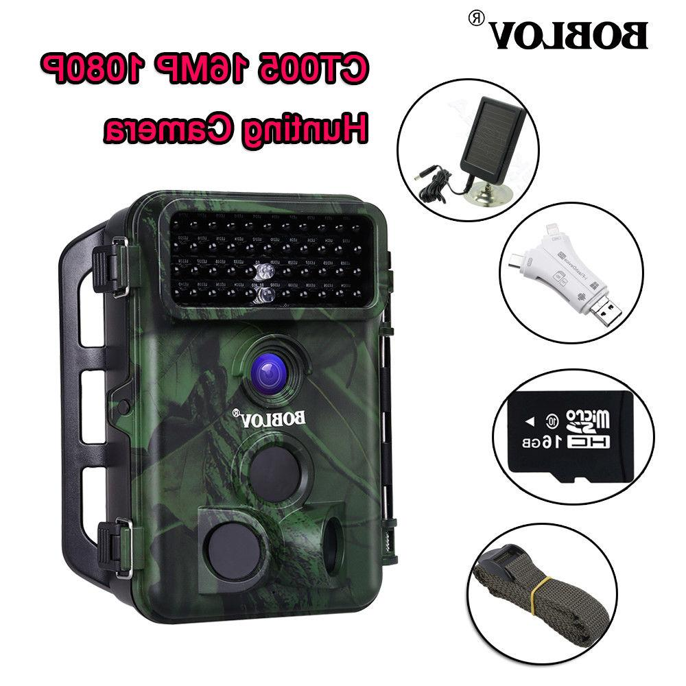 1080p 16mp 16gb hunting camera with solar