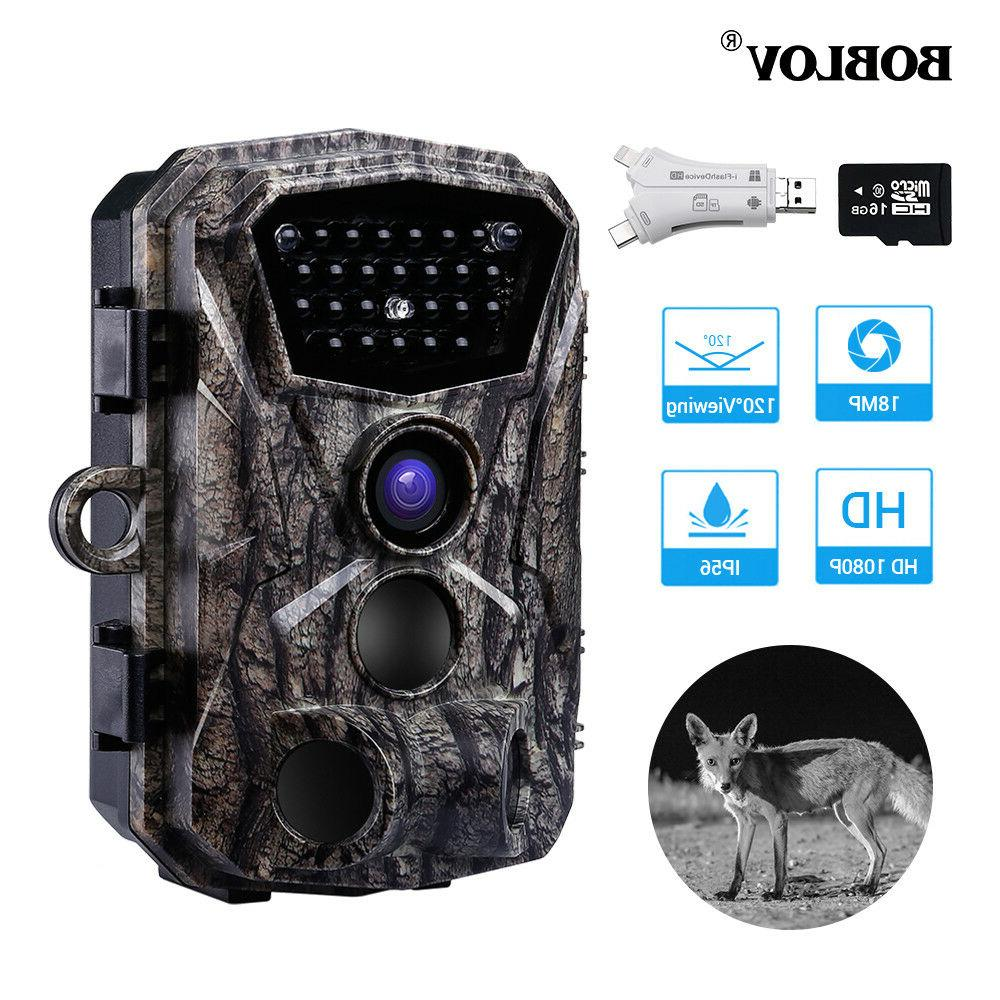 18MP 1080P HD Night Vision Wild Scouting Hunting Camera With Card
