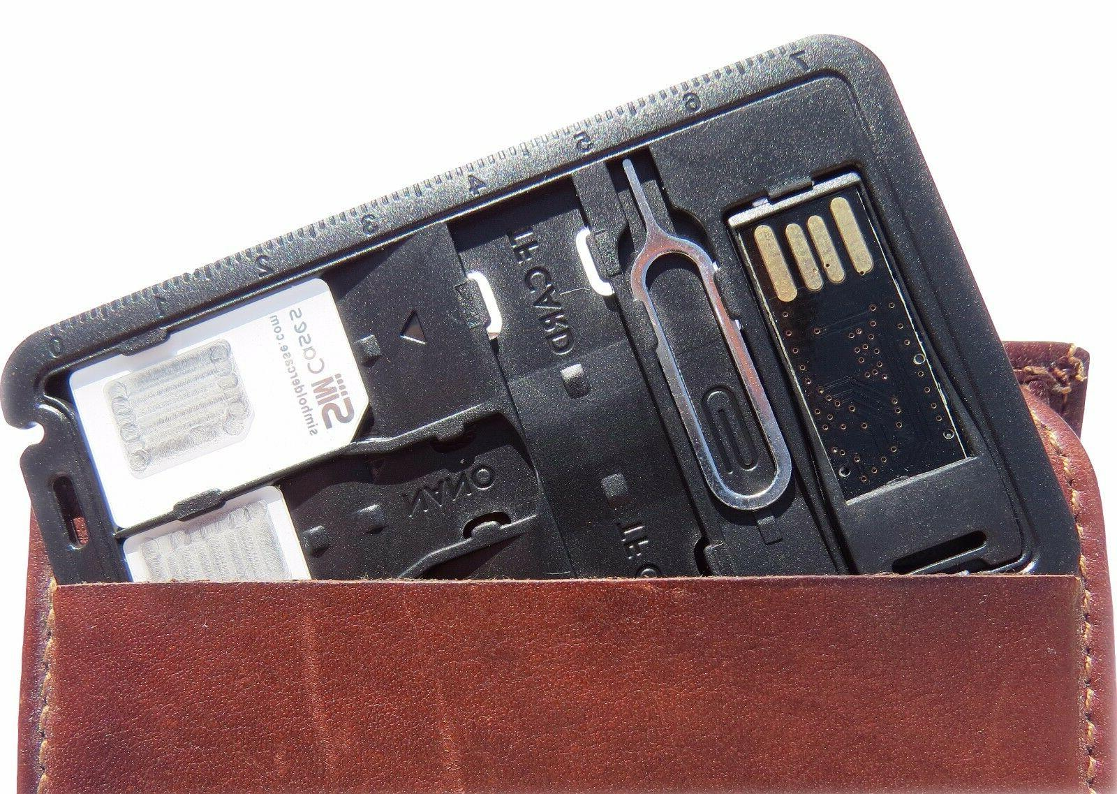 2 X Card Storage Holder with memory reader 3 sim