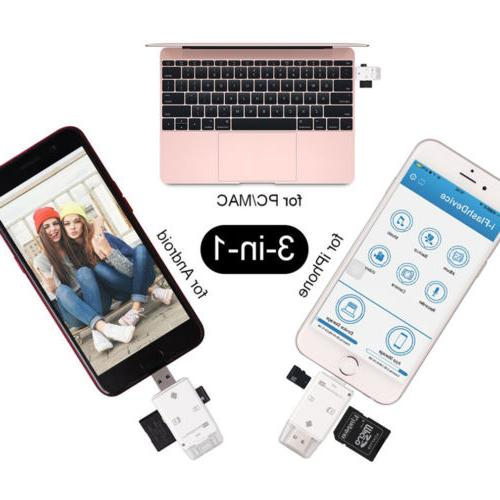 3 SD Reader Adapter fit MAC/ PC/ Android Device USA