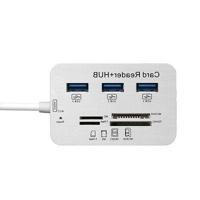 3 Port USB 3.0 Hub MS SD TF External Card Reader For PC Laptop