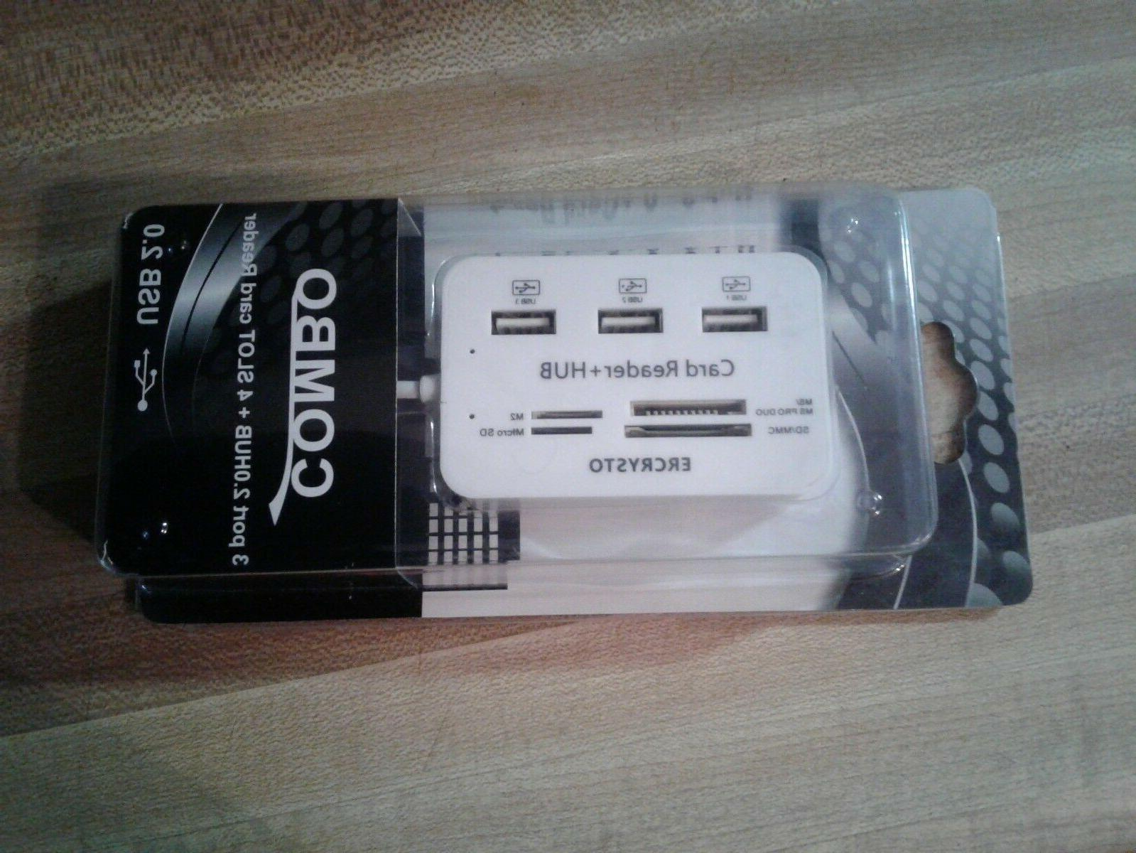 ERCRYSTO USB HUB CARD READER COMBO USB EXTERNAL - NEW