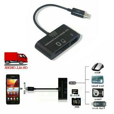 3in1 External USB Card Reader for Android Phones TF/SDHC/SD- Card
