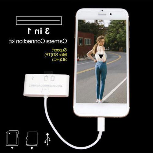 3in1 USB Reader Micro SD Link Adapter for Apple iphone X 6