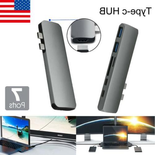 USA 7 in 1 USB C Hub USB Type C Adapter Dock with 4K HDMI PD