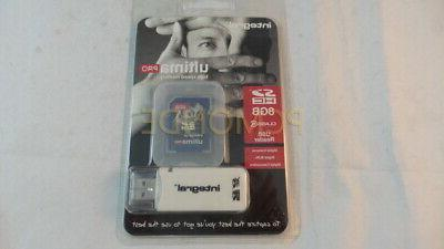 8gb ultimapro sdhc usb card with reader