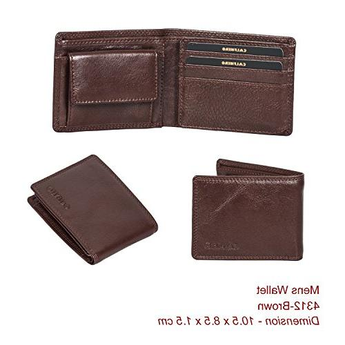 Bifold Leather Wallets for Men - RFID Blocking Genuine Leath
