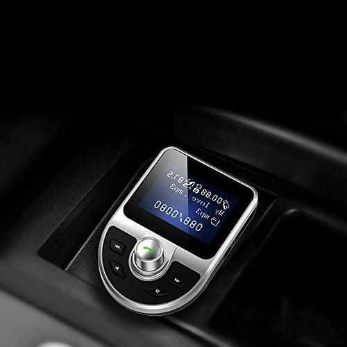 Bluetooth FM Transmitter, Wireless In Car MP3 with USB Card Reader iPhone X 8G 7 6S, Samsung S7 S6 8 6 5 Android Smartphone