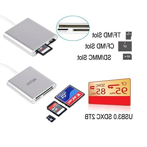 Compact CF Reader, Aluminum 3.0 Micro SD Converter with for Extreme Sandisk/ Lexar Card and Galaxy, Mac