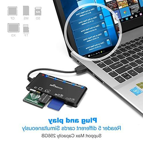 Rocketek 3.0 Card Reader/Writer Card, Card, SD Card, MS 13cm USB Cable - 5 cards read simultaneously