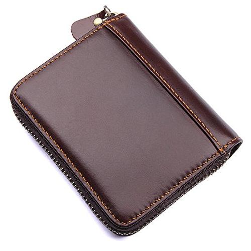 92a0c6679932 ULUIKY Occident Style Men and Women's Genuine Leather RFID Secure Spacious  Cute Zipper Card Wallet Small Purse Leather Credit Card Security Travel ...
