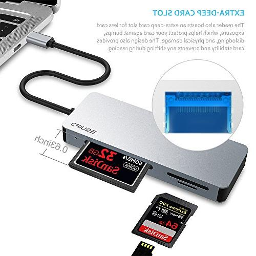 EQUIPD Aluminum USB C Compact 5Gbps Read 3 Cards Simultaneously SDXC, SD, Micro SDHC, Micro SD, UHS-I Grey
