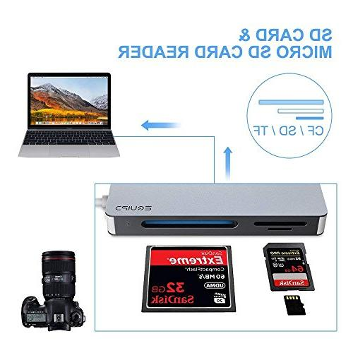 EQUIPD USB C Compact Slot 5Gbps Read Simultaneously SD, SDHC, Micro SD, TF, UHS-I Memory Grey